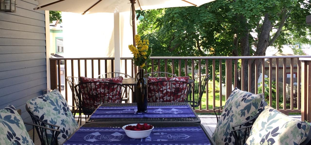 Historic Inn breakfast on deck, Salem MA