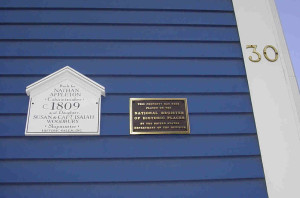 Historic House plaque & National Register of Historic Places house plaques on lodging inn's colonial blue Federal style siding